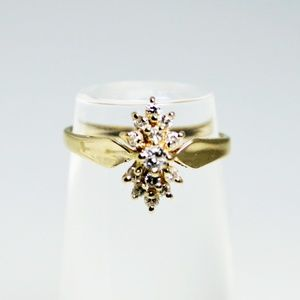 14KT Yellow Gold Diamond Pyramid Cluster Ring